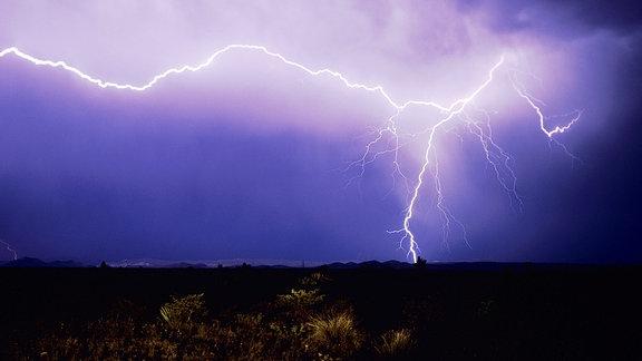 Blitzschlag über der Wüste, Big-Bend-Nationalpark, West-Texas, USA