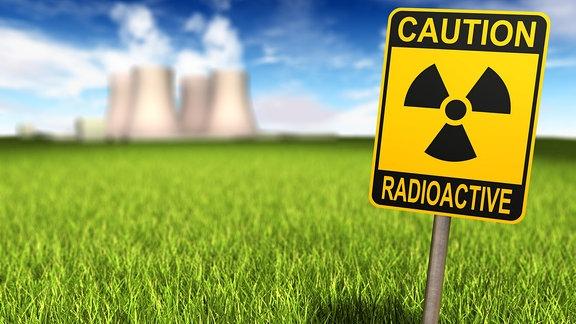 Schild in Boden - Radioaktivität