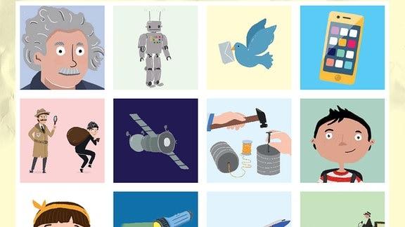 """12 unterschiedliche Karten eines Memospiels mit gezeichneten """"Wissensmotiven"""", von einer Postkutsche bis hin zu Smartphone und Roboter."""