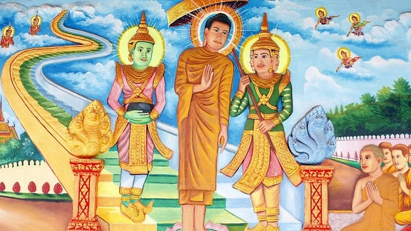 Buddha trifft im Himmel die Götter Indra und Brahma