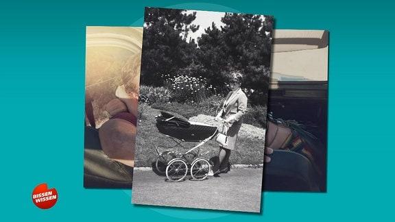 Ein  Foto aus vergangener Zeit in schwarz weiß zeigt eine junge Mutter mit Kinderwagen