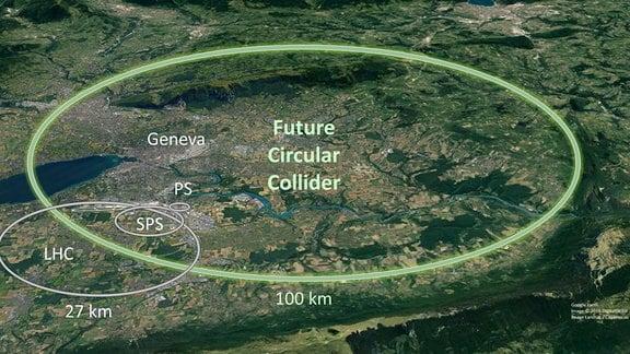 Die Karte zeigt den geplanten neuen Teilchenbeschleuniger am CERN