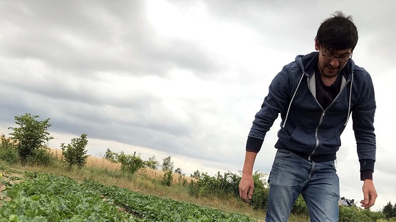 MDR-Reporter Max Heeke auf einem Beet der Gemüsekooperative Rote Beete in Tauche bei Leipzig.