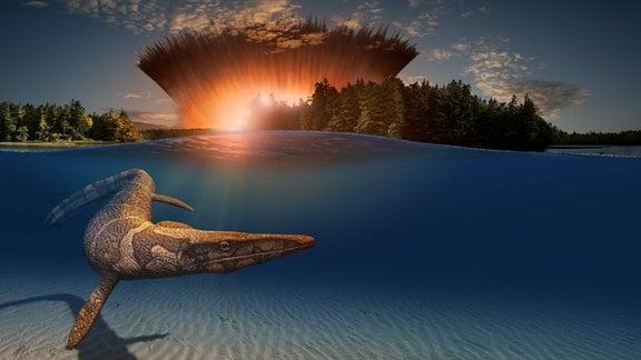 Künstlerische Darstellung eines Asteroideneinschlages, im Vordergrund schwimmender Tylosaurus