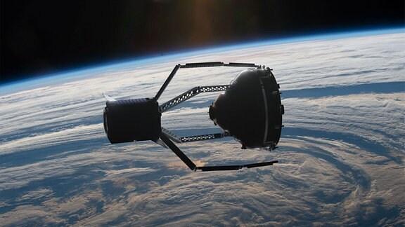 Diese künstlerische Darstellung zeigt ClearSpace-1, wie er das Trümmerteil Vespa (Vega Secondary Payload Adapter) vom europäischen Vega Launcher versucht zu greifen.