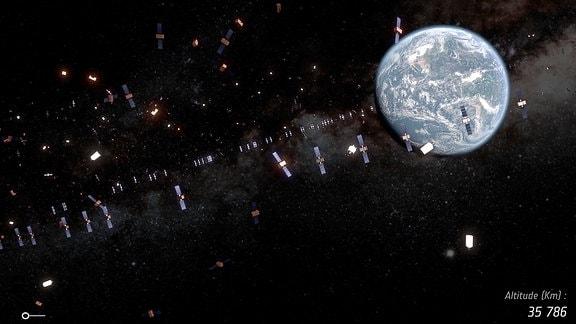 Diese künstlerische Darstellung zeigt Satelliten und Weltraumschrott, die sich im Erdorbit befinden