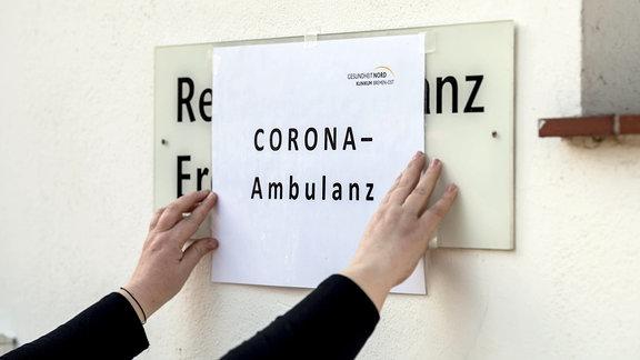 Schild Corona-Ambulanz