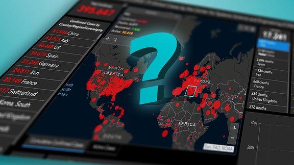 Illustration: Die Datenbenutzeroberfläche mit vielen Zahlen und roten Kreisen auf einer Weltkarte der Johns-Hopkins-Universität perspektivisch schräg mit Unschärfe, dazu ein 3D-Fragezeichen, groß, in den Farben von MDR WISSEN (türkis)