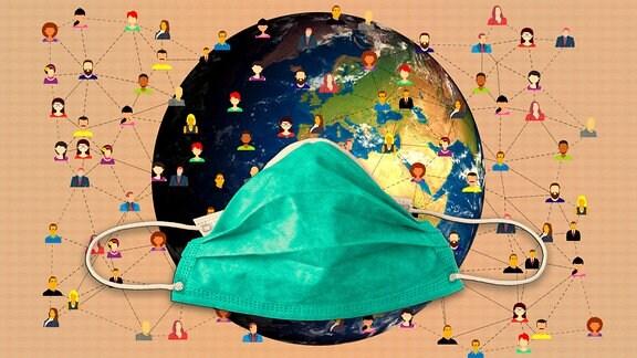 Fotomontage zeigt durch Linien miteinander verbundene Köpfe von Menschen und eine Weltkugel mit Mund-Nasen-Schutz