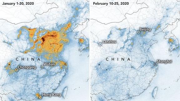 Stickoxide in der Atmosphäre über China vor und während der Coronakrise.