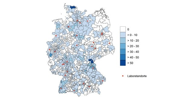Wo kommen die Proben mit den mutierten Coronavarianten B.1.1.7 her? Die Grafik zeigt die Verteilung aller B.1.1.7 Proben auf deutsche Postleitzahlbereiche.