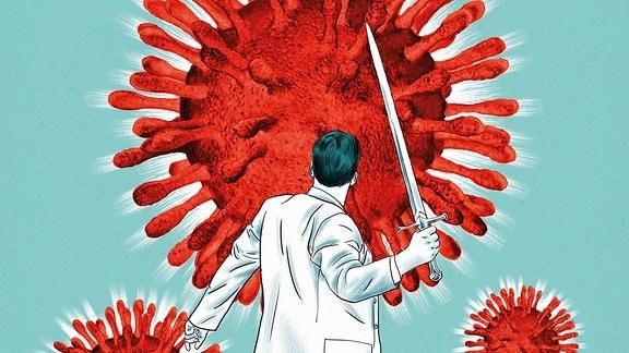 Illustration im Zeichenstil: Wissenschaftler oder Mediziner von hinten mit erhobenem Schwert vor roten, großen Corona-Viren, die wie rote Bälle mit Stachel-Noppen aussehen.