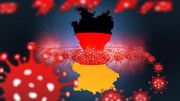Grafik - Coronavirus würgt Deutschland - Eine Seilschaft aus Viren schlingt sich um Deutschland