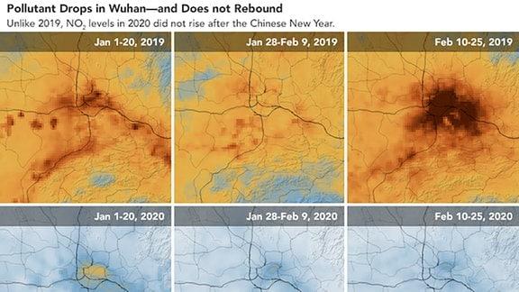 Luftverschmutzung über Wuhan, Vergleich der Monate Januar und Februar in den Jahren 2019 (normaler Zustand) und 2020 (Einschränkungen durch Corona)