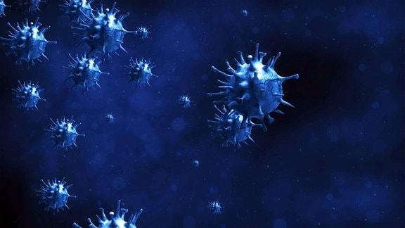 Illustration, künstlerische Darstellung Coronavirus.
