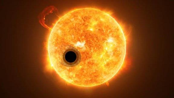Künstlerische Darstellung von Exoplanet WASP-107b und seines Sterns WASP-107