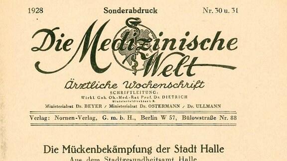 """Deckblatt """"Medizinische Welt"""""""