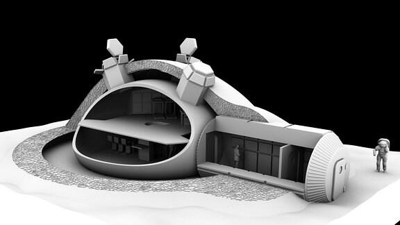Für das ESA-Konzept einer mithilfe von 3D-Druck gefertigten Basis auf dem Mond, wurde dieses Design entworfen. Die domartige Struktur liegt unterhalb einer strukturierten Wand, die Mikrometeoriten und kosmische Strahlung abhalten soll und einen Bau-Teil mit Atmosphäre für die Astronauten vorsieht.