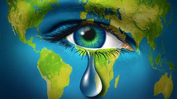 Symbolbild - Weinender Planet Erde-- Erdüberlastungstag