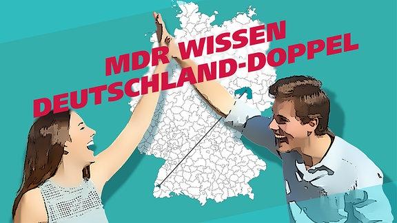 """Ein im Comic-Stil abgebildetes Paar begrüßt sich vor einer Deutschland-Karte mit """"High Five""""."""