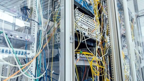 Kabelgewirr in einem Serverschrand