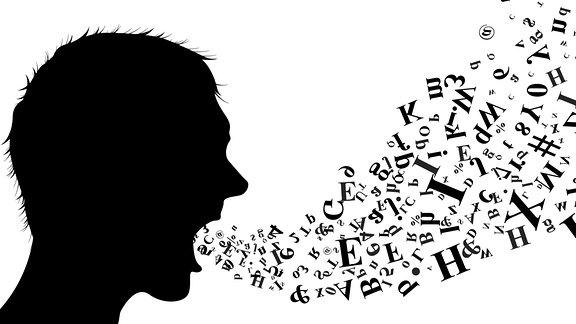 Silhouette eines Mannes aus dessen Mund Buchstaben entweichen.