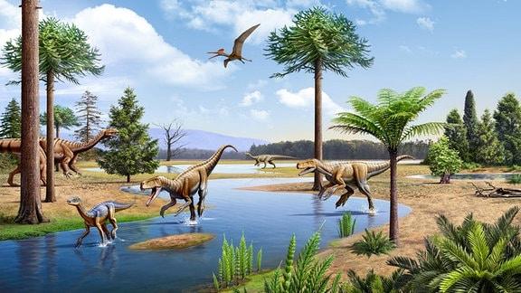 Eine Zeichnung zeigt Dinosaurier.
