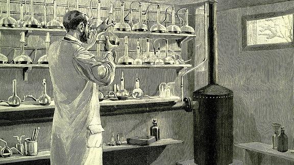 Apotheker mit Anti-Diphterie-Serum, historische Illustration/ Stahlstich, 1882