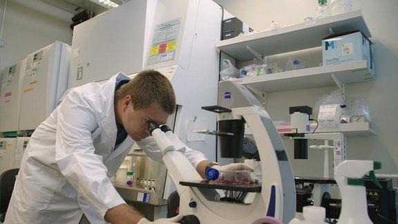 Ein junger Mann sieht in ein Mikroskop
