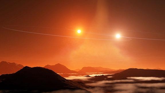 Künstlerischer Eindruck eines doppelten Sonnenuntergangs auf einem 'Tatooine'-Exoplaneten, der sich in einer zirkumbinären Scheibe bildet, die mit den Bahnen ihrer Doppelsterne falsch ausgerichtet ist.