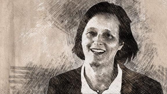 """Iris F. Chaberny, Direktorin Institut für Hygiene, Krankenhaushygiene und Umweltmedizin, Universitätsklinikum Leipzig, Grafik für die MDR Wissen Serie """"Mein Jahr mit Corona""""."""
