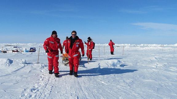 Menschen laufen auf einer großen Eisscholle