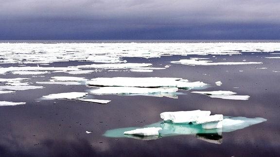 Eischollen auf dem Meer vor Spitzbergen