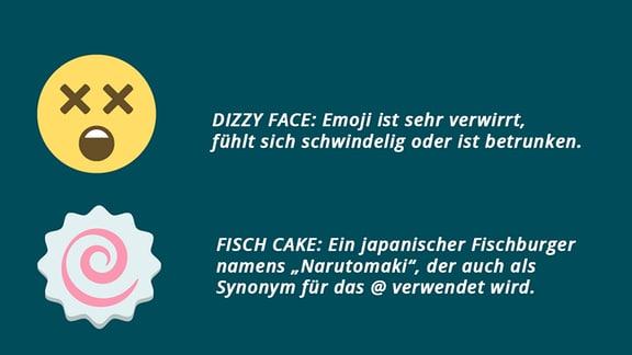 Drei Emojis untereinander: Das Dizzy Face, ein Gesicht mit Kreuzen anstelle von Augen, das Benommenheit und Schwindel symbolisiert. Ein Fish Cake, ein weißer Kreis mit gewelltem Rand und in der Mitte ein rosaner Strudel. Es stellt einen japanischen Fischburger dar und wird auch als Synonym für das @ verwendet. Ein Moon Cake, ein brauner Kuchen in Form einer großen Blüte. Dieser chinesische Kuchen wird während des Mondfestes im Herbst gegessen.