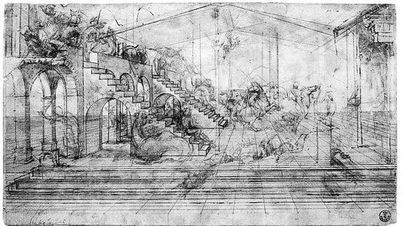 """Studie zur """"Anbetung der Könige"""" von Leonardo da Vinci."""