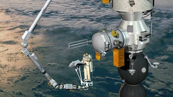 """Illustration vom """"European Robotic Arm"""" ERA der Europäischen Raumfahrtbehörde ESA."""