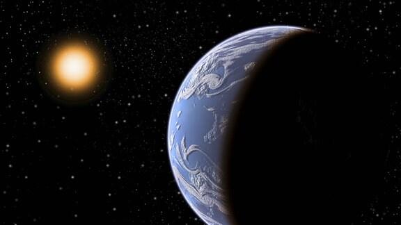 Künstlerische Darstellung von Erde und Sonne