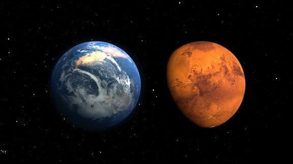 Eine künstlerische Darstellung von Erde und Mars im Weltall.