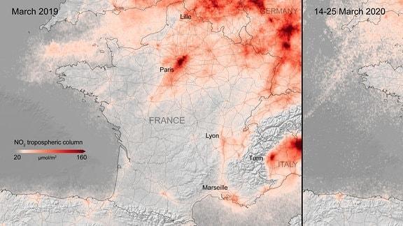 Stickstoffdioxid-Konzentration über Frankreich