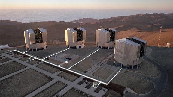 Luftbild der Aussichtsplattform auf dem Gipfel des Paranal mit den vier Gehäusen für die 8,2-m-Einheits-Teleskope (UT) und verschiedenen Installationen für das VLT-Interferometer (VLTI).
