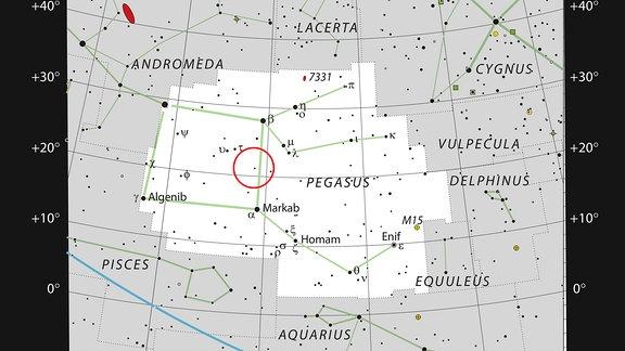 Diese Grafik zeigt das Sternbild von Pegasus, das ein geflügeltes Pferd aus der griechischen Mythologie darstellt. Das Diagramm zeigt die Position von HR8799 und markiert die meisten Sterne, die in einer klaren, dunklen Nacht für das bloße Auge sichtbar sind.