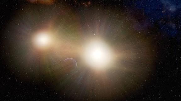 Grafik, die einen Planeten zeigt, der vom Licht zweier naher Sterne überstrahlt wird.