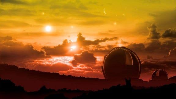 Illustration - Zwei Observatorien vor Himmel mit Sonne, Mond und fernen Sternen.