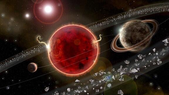 Eine künstlerische Darstellung des Planetensystems der Proxima Centauri.