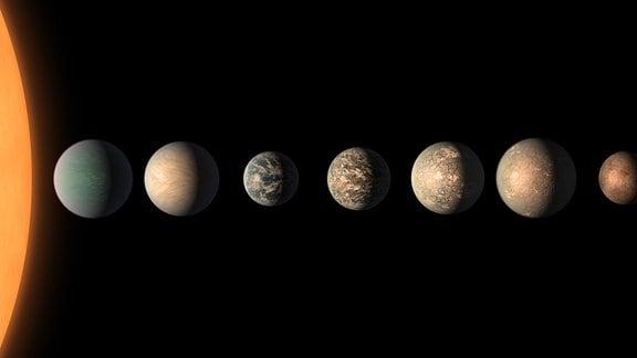 Sieben ähnlich große Planeten neben einer Sonne: Die künstlerische Darstellung zeigt, wie das TRAPPIST-1 Planetensystem basierend auf den verfügbaren Daten zu Durchmessern, Massen und Entfernungen der Planeten vom Wirtsstern aussehen könnte. Die sieben Planeten liegen in der sogenannten bewohnbaren Zone, in der theroretisch das Vorkommen von Wasser möglich ist.