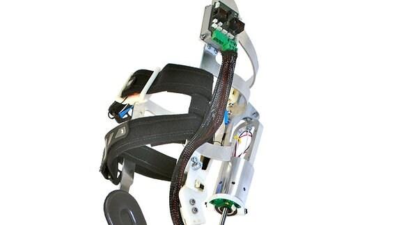 Eine Beinprotese vor weißem Hintergrund