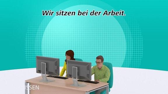 Computergrafik - Zwei Sitzende Personen
