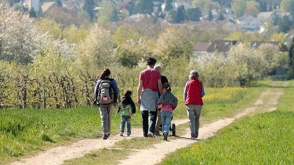 Familie mit Kindern unterwegs auf einem Feldweg