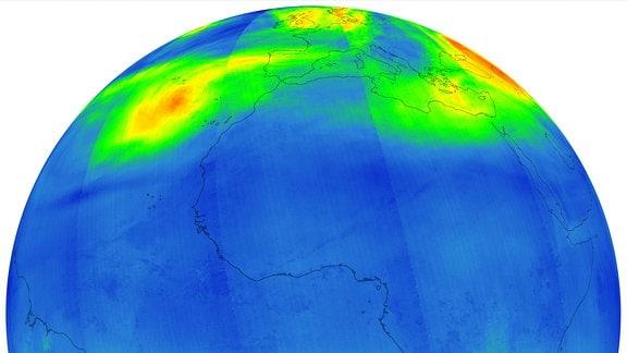 Karte der Ozonwerte