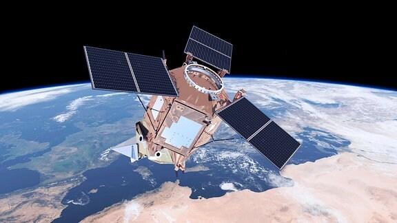 Der Satellit Sentinel-5P überwacht die Atmosphäre.